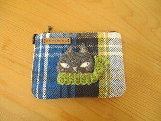 猫(グレー・黄緑マフラー)のカードケースの画像