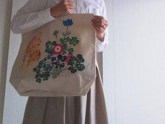 猫とアネモネ 手描き染め 帆布トートバッグ Lサイズの画像