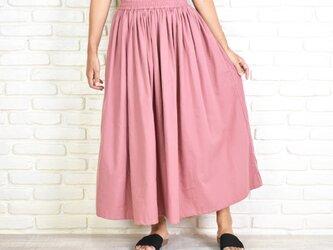 大人のふんわりギャザーロングスカート ピンクの画像