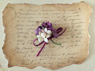 染め花のすみれのポニーフック(M・パープル&オフホワイト)の画像