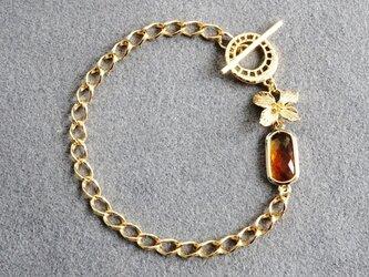 ゴールド・フラワー&・アンバー・ガラス・ブレスレットの画像