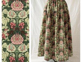 レディのためのティアードスカート:85cm(フロレアール:グリーン)の画像