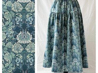 レディのためのティアードスカート:85cm(フロレアール:ブルーグリーン)の画像