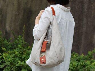 polta-linen:生成×レッドブラウン(リネン×栃木レザーセミショルダーバッグ)の画像