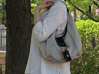 polta-mini-linen:生成×クロ(リネン×栃木レザーセミショルダーバッグ)の画像