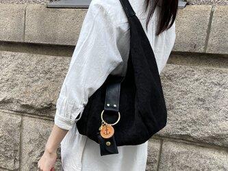 polta-mini-linen:クロ×クロ(リネン×栃木レザーセミショルダーバッグ)の画像