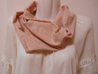 要お問い合わせ☆コットンボイルスヌード(一重ねじりセピアピンク)日焼け 冷房 汗対策、スカーフ・付け衿感覚で☆シングルの画像