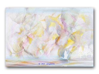 「内なる自分のささやかな摂理を羽にして」シロサギ 鳥 ほっこり癒しのイラストポストカード2枚組 No.1323の画像