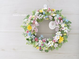 ちいさな花々を 編むように リース:母の日フラワー 母の日 ウェディング ピンク 白 黄色 ブルー の画像