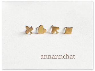 【真鍮 ハート・スペード・クラブ・ダイヤ 小さいトランプ ピアス】アメリカ製 4個の画像