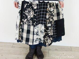 リネンパッチティアードスカート☆ブラックの画像