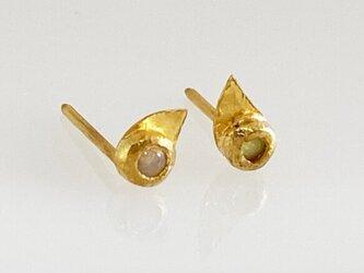 K24 Pure Gold+Opal ◇天然オパール 魂の純金スタッドピアス・K24ポストの画像