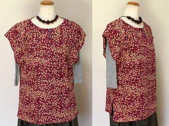 着物リメイク ブラウス C シャツ  シルク  重ね着 袖なしの画像