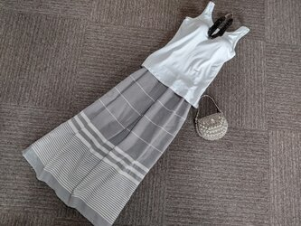 ★大好評★一品物★85㎝まで★砂色x生成り★トルコ綿のさわやかギャザースカート★受注製作★の画像
