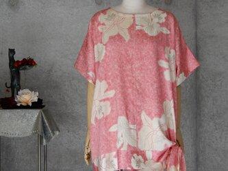 着物リメイク チュニックブラウス/蘭の花/サイドリボンの画像