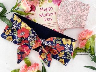 母の日ギフト リバティ 赤 花柄 保冷剤 ネッククーラー スカーフ & リバティ 布マスク 2点セット♪の画像