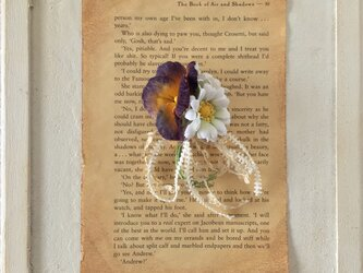 染め花のパンジーとデイジーのコサージュ(ムラサキ×イエロー&ホワイト×グリーン)の画像