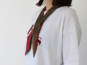 % PERCENT クール スカーフ(カーキ・レッド)濡らして冷んやりクールスカーフ 固定穴付き 熱中症対策 手首 ヘッドアクセの画像