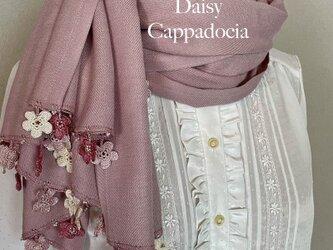 刺繍のお花つき パシュミナストール「マリー」ピンクの画像