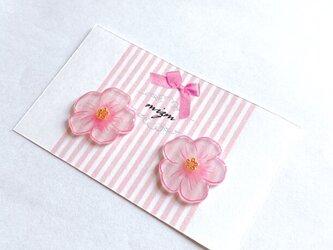 春色手書きのお花ぷっくりピアス / イヤリングの画像
