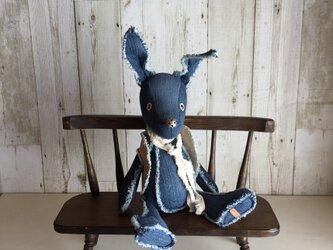 デニムのぬいぐるみ「ディンゴ」特殊鼻 2色藍色の画像