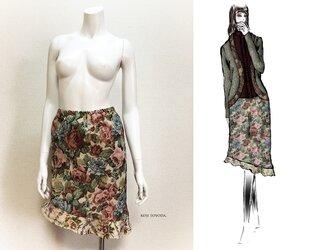 【1点もの・デザイン画付き】ゴブラン織りアシメトリースカート(KOJI TOYODA)の画像