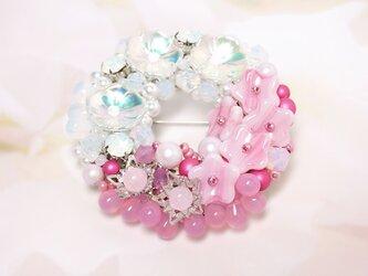 小花リースブローチ*Pink&Whiteの画像