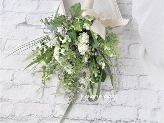 グリーン スワッグ【G】グリーンキャットテイルのスワッグ:白 花 ユーカリ ナチュラル の画像