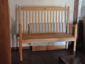 ケヤキ2人掛けベンチの画像