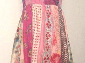 Sold Out着物リメイク♪春色銘仙色々パッチワークチュニックワンピース裾変形♪ハンドメイド♪イレギュラーヘム・春色・ピンクの画像