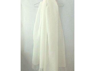 手織り 73cm幅 真っ白の麻のストール(1)の画像