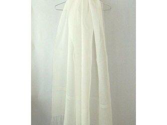 手織り 73cm幅 真っ白の麻のストール(2)の画像