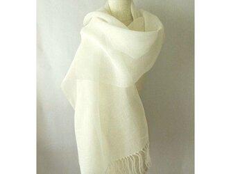 手織り 52cm幅 真っ白の麻のストールの画像