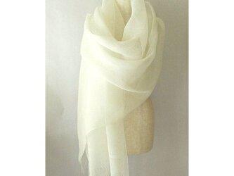 手織り 67cm幅 真っ白の麻のストール(2)の画像