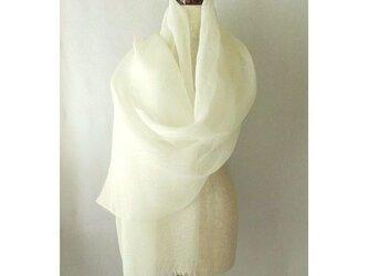 手織り 67cm幅 真っ白の麻のストール(3)の画像