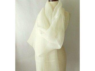 手織り 57cm幅 真っ白の麻のストール(2)の画像