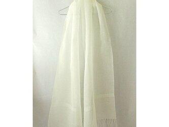 手織り 57cm幅 真っ白の麻のストール(3)の画像