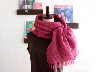 リネン×コットン 手織りストール  (4種類のピンクの掛け合わせ)の画像