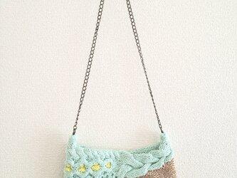 82.夏糸のなわ編みショルダーバッグ〈ミントグリーン〉の画像