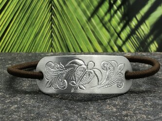 """Hawaiian Hair Tie Silver """" 髪を結んでアロハな気分になる銀色のヘアゴム""""の画像"""