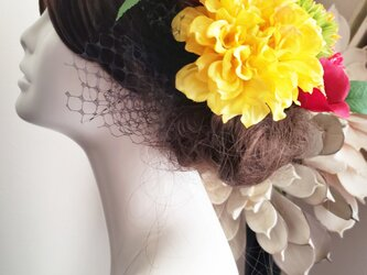 和モダン Cuteなお花とチュールの髪飾り9点Set No789の画像