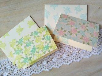 消しゴム版画 カードのセット(花模様)の画像