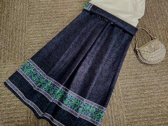 ★約68㎝まで★伝統的な老舗のデザイン★紺地★綿100★ギャザースカート★の画像