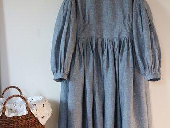 春夏★ダンカリーリネン100% スカラップ刺繍 2way 羽織るロング ワンピース ★の画像