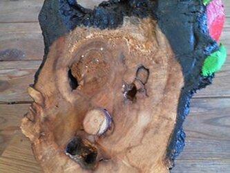 木のオブジェ マスクピエロの画像