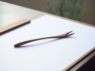 木のデザートフォーク(チーク)A018-0の画像