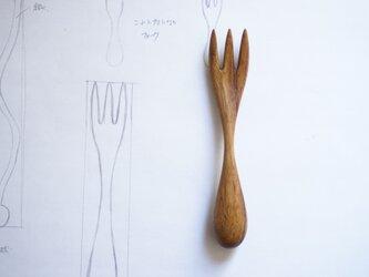 持ち手が丸い木のデザートフォーク(チーク)A015-0の画像