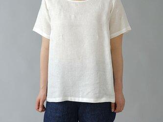 【Mサイズ】【wafu】雅亜麻リネンTシャツ インナー リネンブラウス ペチコート 半袖 丸首/白色 p015a-wht1-Mの画像