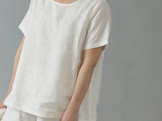 【Lサイズ】【wafu】雅亜麻リネンTシャツ インナー リネンブラウス ペチコート 半袖 丸首/白色 p015a-wht1-Lの画像