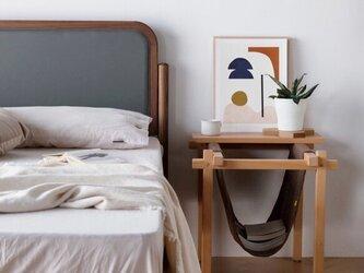 受注生産 職人手作り ベットサイドテーブル シェルフ 収納棚 寝室 天然木 無垢材 家具 シンプル エコ LR2018の画像